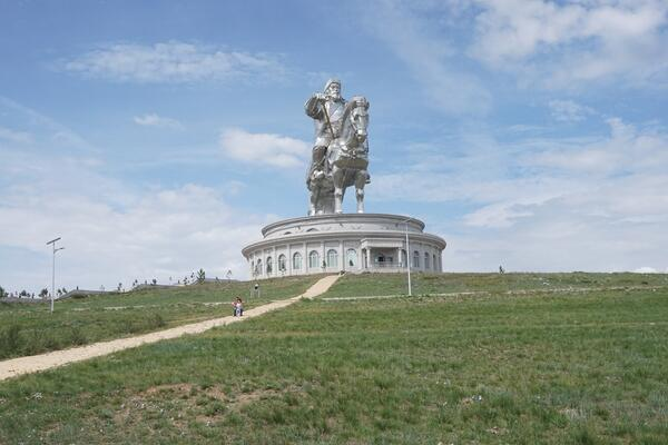 Image shows a far view of the statue of Genghis Khan