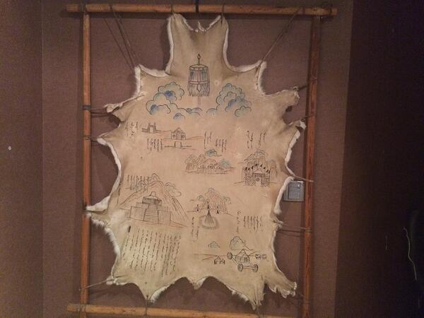 Image of an animal skin with drawings on it