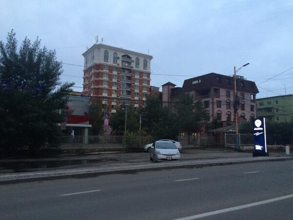 Image shows the street view of buildings in the city of Ulaanbaatar