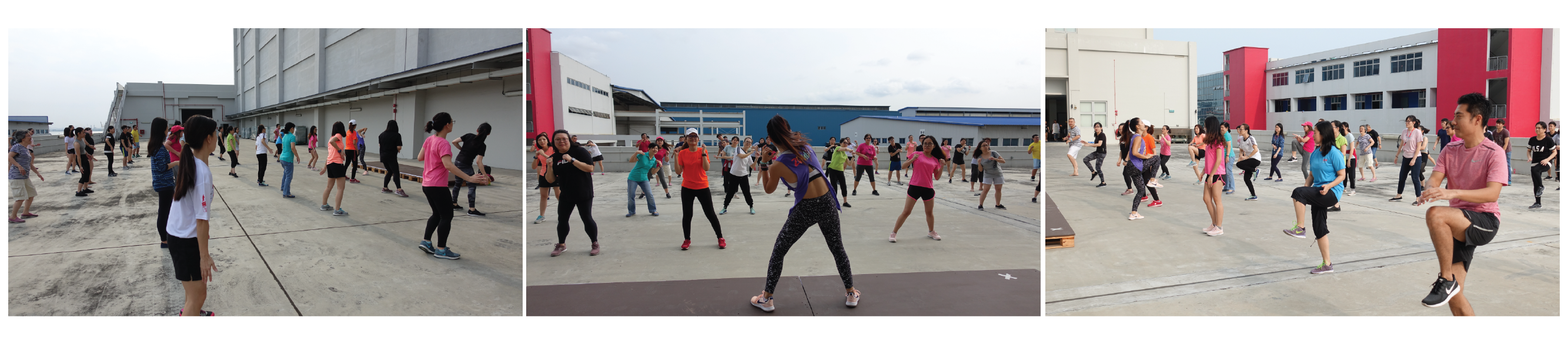 Image shows a collage of three photos featuring SLS employees participating in Zumba with an instructor