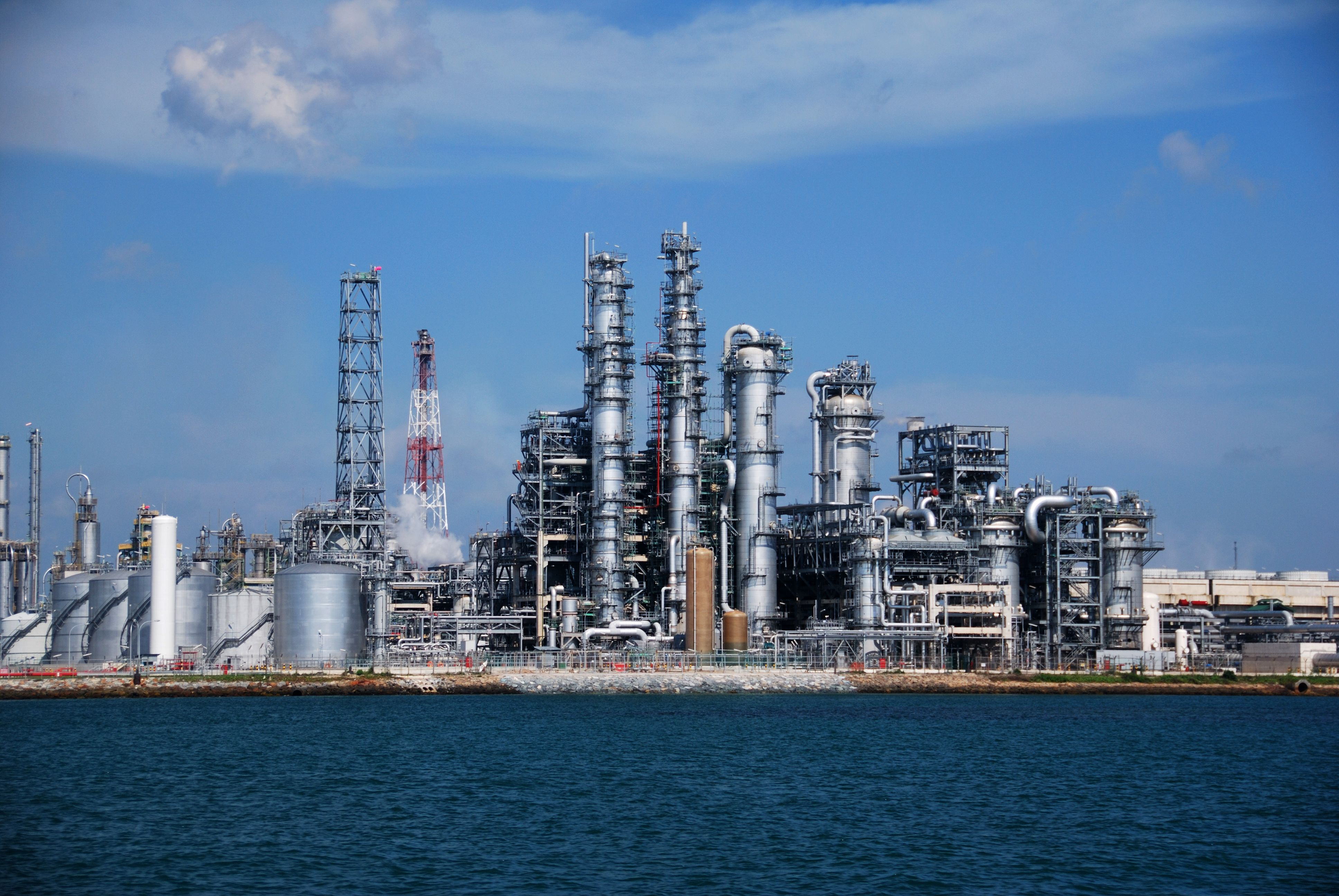 Image shows the a petrochemical operation on an industrial island
